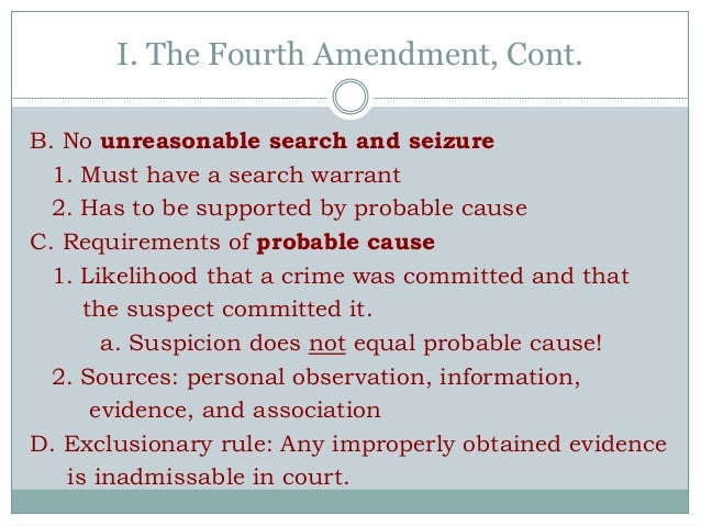Fourth Amendment Notes