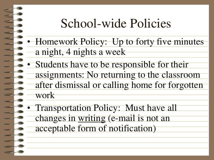 School wide homework policy 4th