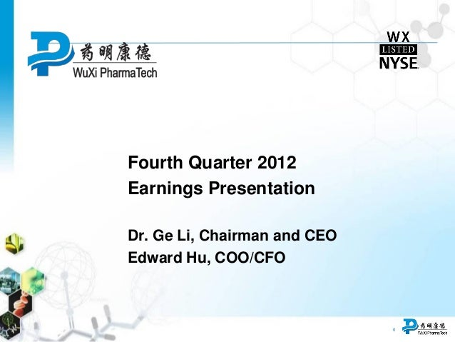 0 Fourth Quarter 2012 Earnings Presentation Dr. Ge Li, Chairman and CEO Edward Hu, COO/CFO