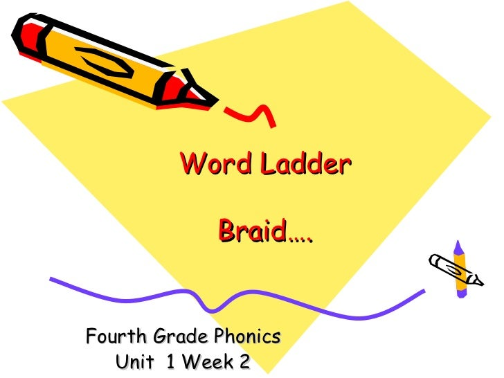 Word Ladder             Braid….Fourth Grade Phonics   Unit 1 Week 2