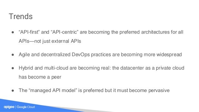 """Trends ● """"API-first"""" and """"API-centric"""" are becoming the preferred architectures for all APIs—not just external APIs ● Agil..."""