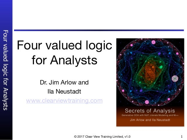 FourvaluedlogicforAnalysts © 2017 Clear View Training Limited, v1.0 1 Four valued logic for Analysts Dr. Jim Arlow and   I...