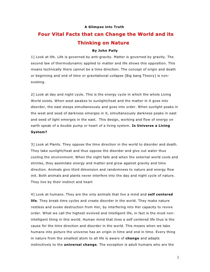 A Glimpse into Truth      Four Vital Facts that can Change the World and its                             Thinking on Natur...