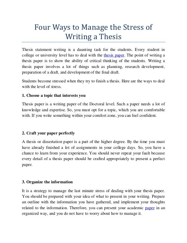 Thesis about stress of students sample resume of student in college