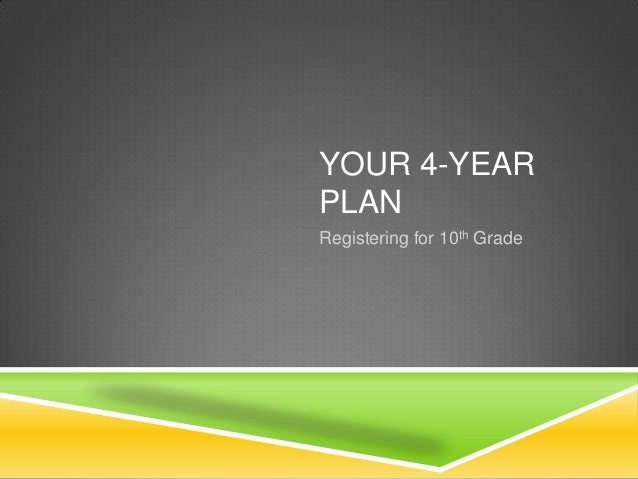 YOUR 4-YEAR PLAN Registering for 10th Grade