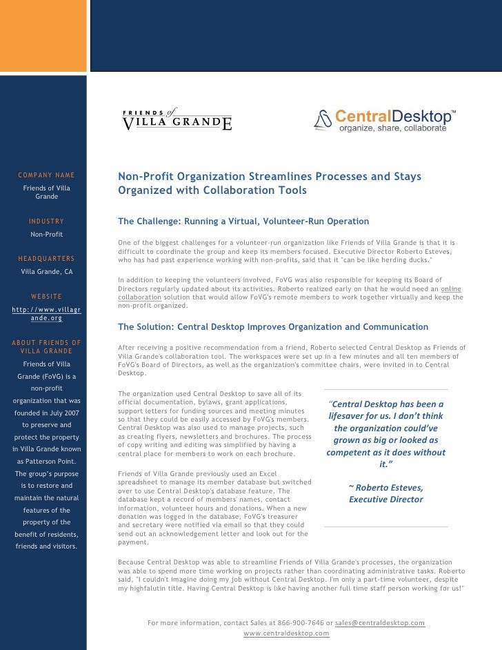COMPANY NAME             Non-Profit Organization Streamlines Processes and Stays    Friends of Villa        Grande        ...