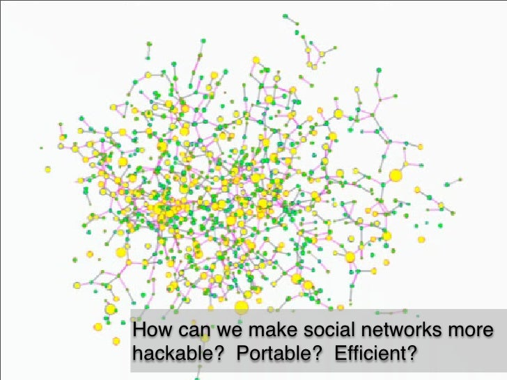 How can we make social networks more hackable? Portable? Efficient?