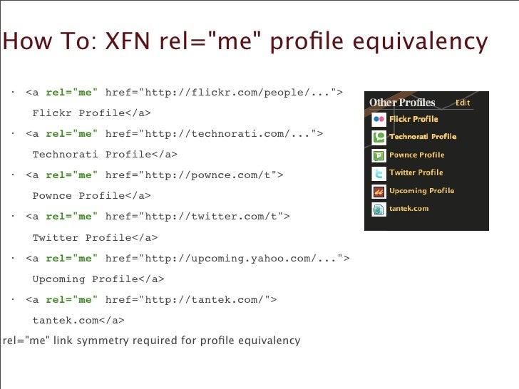 How To: XFN rel=quot;mequot; profile equivalency  •   <a rel=quot;mequot; href=quot;http://flickr.com/people/...quot;>    ...
