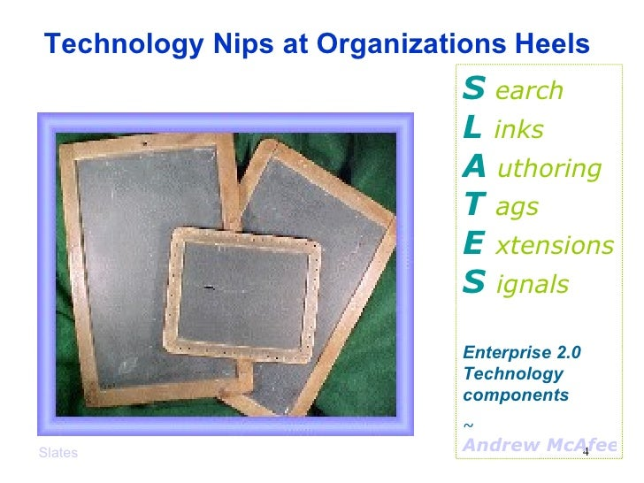 Slates S   earch L  inks A   uthoring T  ags E  xtensions S  ignals Enterprise 2.0 Technology components ~  Andrew McAfee,...