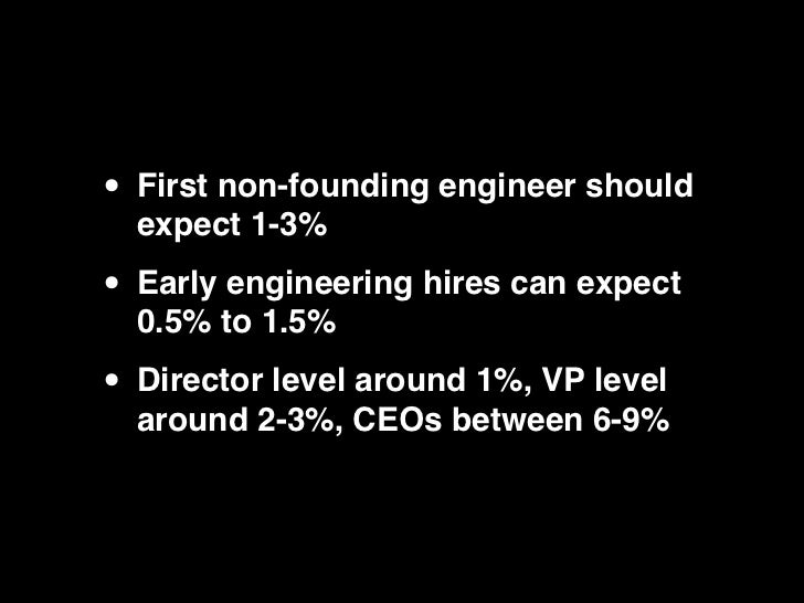 • First non-founding engineer should  expect 1-3%• Early engineering hires can expect  0.5% to 1.5%• Director level around...