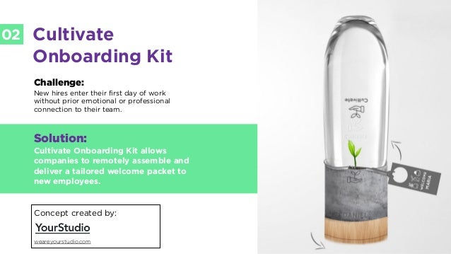 LABS @PSFK #FutureofWork LABS 02 Cultivate Onboarding Kit Challenge: New hires enter their first day of work without prior...