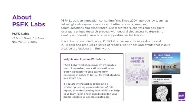 LABS @PSFK #FutureofWork About PSFK Labs PSFK Labs 42 Bond Street, 6th Floor New York, NY 10012 PSFK Labs is an innovation...