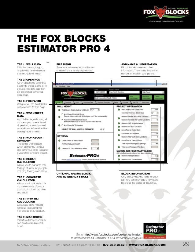 Fox blocks icf guidebook for Fox blocks house plans