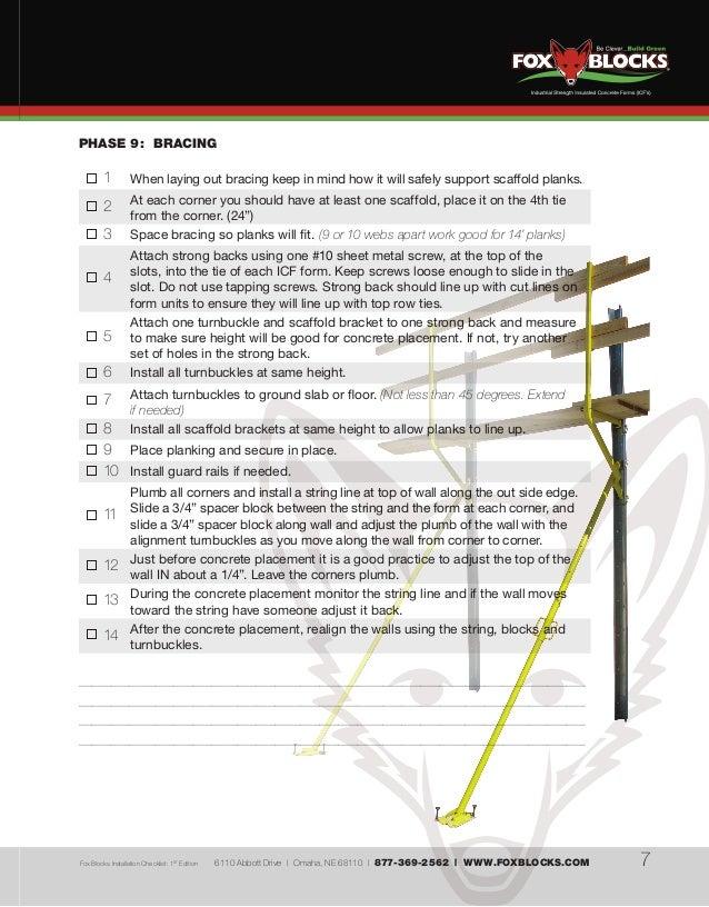 Fox blocks installation checklist for Fox blocks house plans