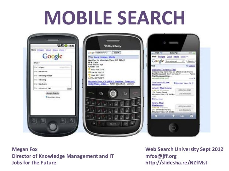MOBILE SEARCHMegan Fox                                 Web Search University Sept 2012Director of Knowledge Management and...