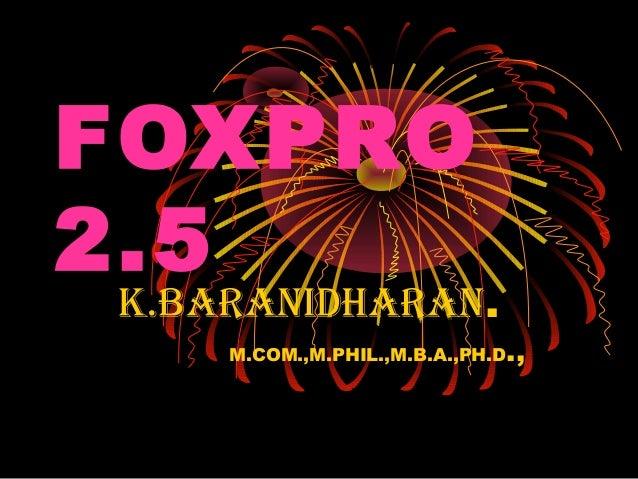 Foxpro 2.6 commands