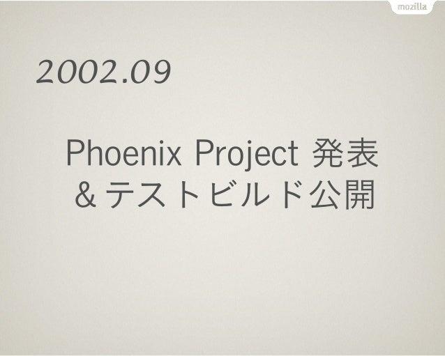 Phoenix 0.1 リリース Phoenix=不死鳥となってよみがえる! 2002.09.23