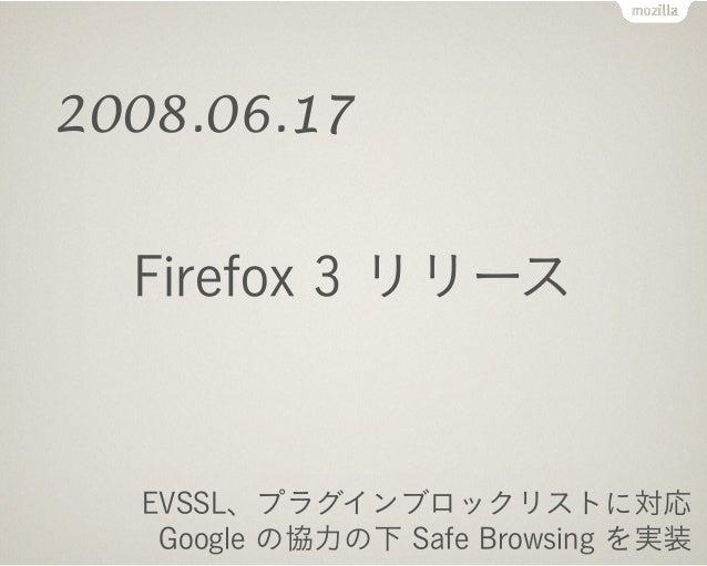 Firefox 3.5 リリース ! <audio> <video>, localStorage, Web Workers, Geolocation 対応 プライベートブラウジングや最近の履歴を消去する機能を搭載 2009.06.30