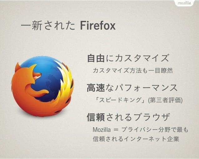 Internet Firefox OS Android Kernel & HAL Kernel & HAL Web Platform Gecko Device API Web に最適化 シンプル&スマート System API Packaged...