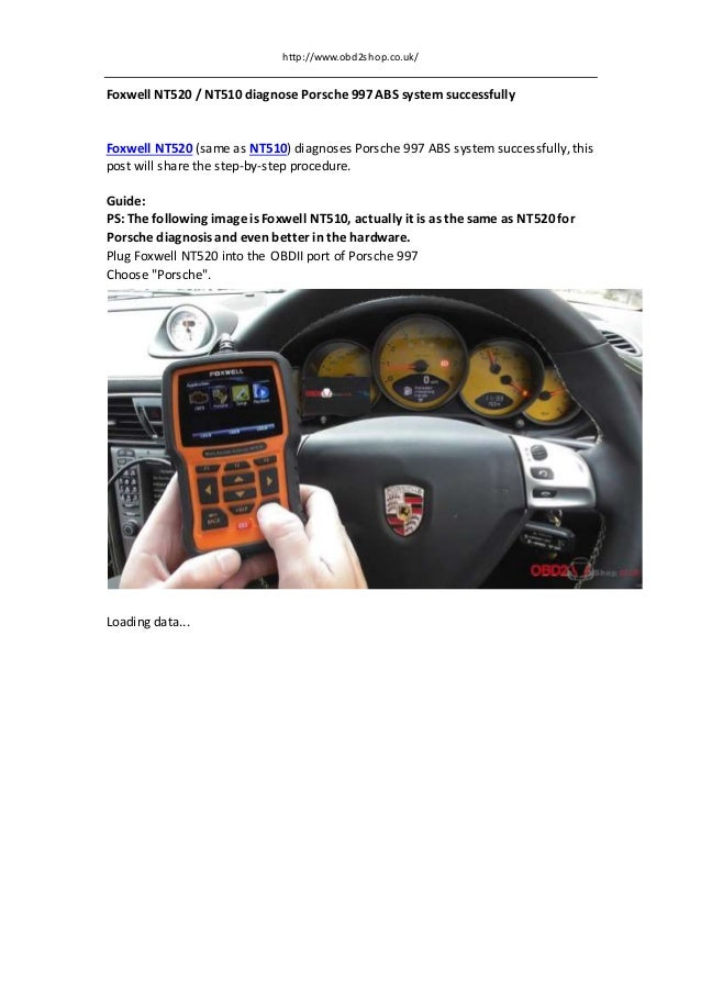 Foxwell nt520/nt510 diagnose porsche 997 abs system