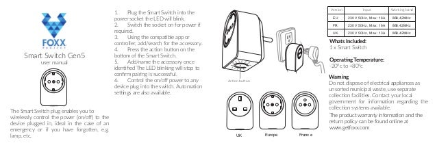 Z-Wave Foxx Smart Switch Manual