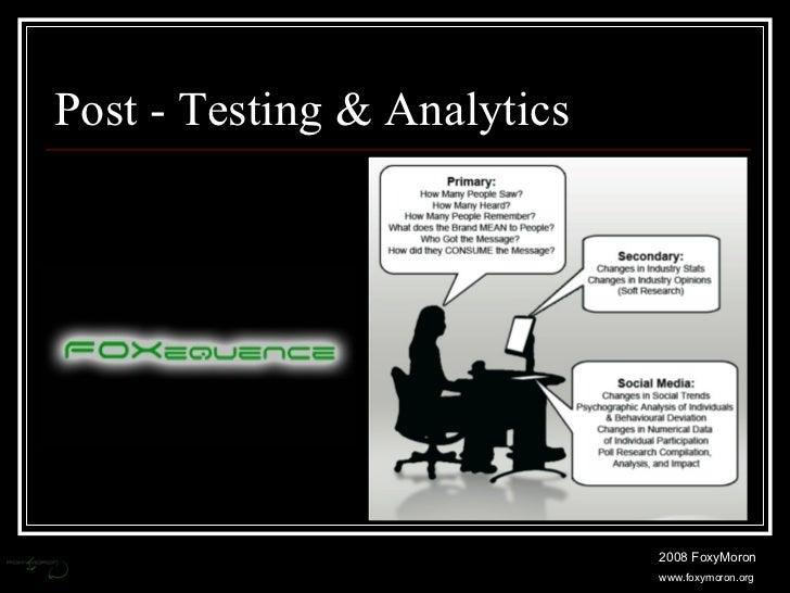 Post - Testing & Analytics 2008 FoxyMoron www.foxymoron.org