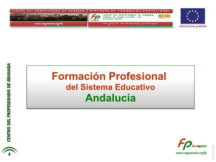 Rai Abril 2008 Formación Profesional  del Sistema Educativo Andalucía www.cepgranada.org/fp