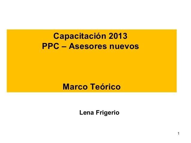 Capacitación 2013 PPC – Asesores nuevos  Marco Teórico Lena Frigerio 1