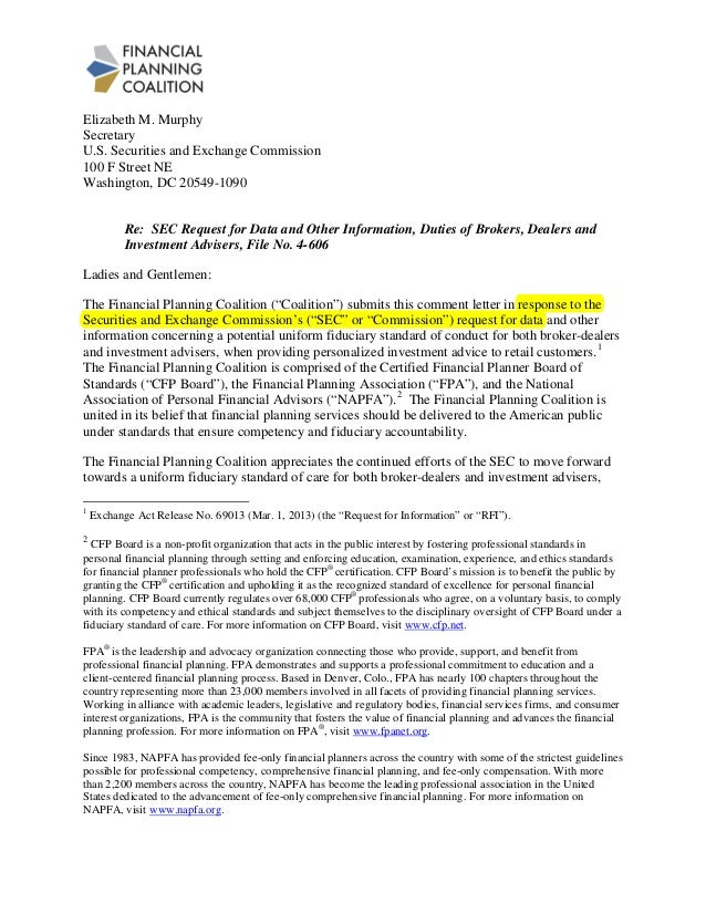 Elizabeth M. Murphy Secretary U.S. Securities and Exchange Commission 100 F Street NE Washington, DC 20549-1090 Re: SEC Re...
