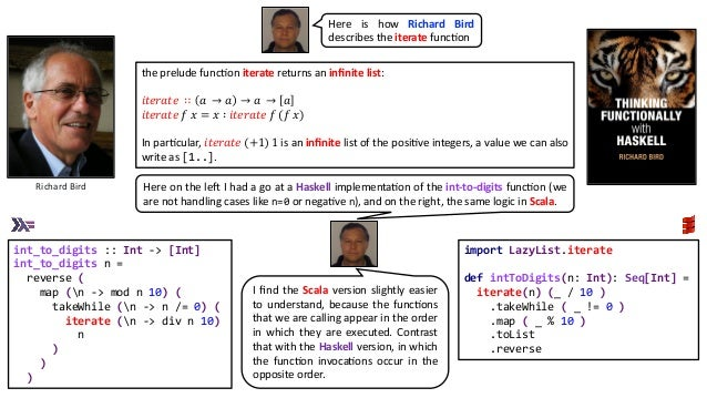 the prelude funcAon iterate returns an infinite list: 𝑖𝑡𝑒𝑟𝑎𝑡𝑒 ∷ 𝑎 → 𝑎 → 𝑎 → 𝑎 𝑖𝑡𝑒𝑟𝑎𝑡𝑒 𝑓 𝑥 = 𝑥 ∶ 𝑖𝑡𝑒𝑟𝑎𝑡𝑒 𝑓 (𝑓 𝑥) In parAcula...