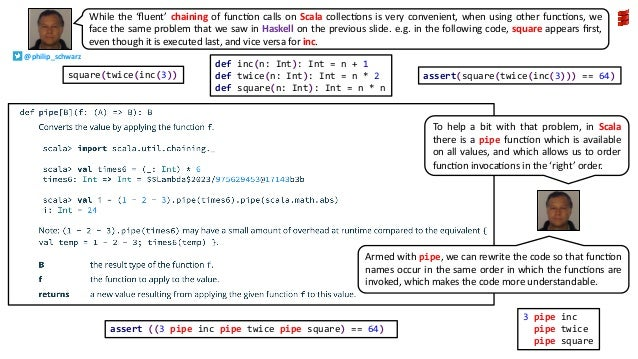 While the 'fluent' chaining of funcAon calls on Scala collecAons is very convenient, when using other funcAons, we face the...