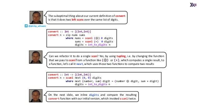 convert :: Int -> [(Int,Int)] convert n = zip nums sums where nums = scanl (⊕) 0 digits sums = scanl (+) 0 digits digits =...