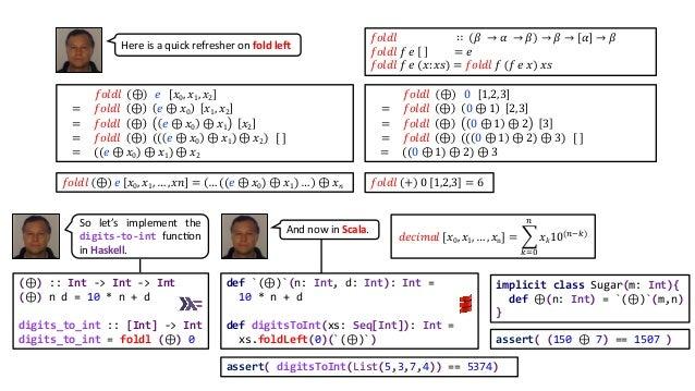 (⊕) :: Int -> Int -> Int (⊕) n d = 10 * n + d digits_to_int :: [Int] -> Int digits_to_int = foldl (⊕) 0 def `(⊕)`(n: Int, ...