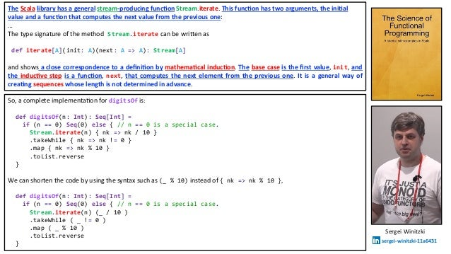 So, a complete implementa.on for digitsOf is: def digitsOf(n: Int): Seq[Int] = if (n == 0) Seq(0) else { // n == 0 is a sp...