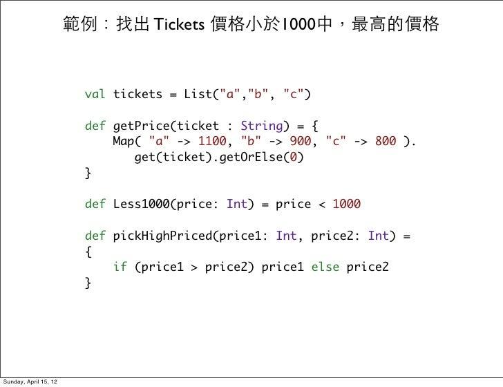 """範例:找出 Tickets 價格小於1000中,最高的價格                        val tickets = List(""""a"""",""""b"""", """"c"""")                        def getPrice(..."""