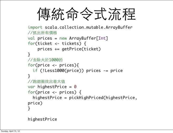 傳統命令式流程                       import scala.collection.mutable.ArrayBuffer                       //抓出所有價格                  ...
