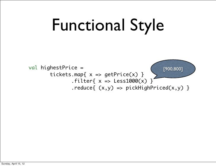 Functional Style                       val highestPrice =                          [900,800]                              ...