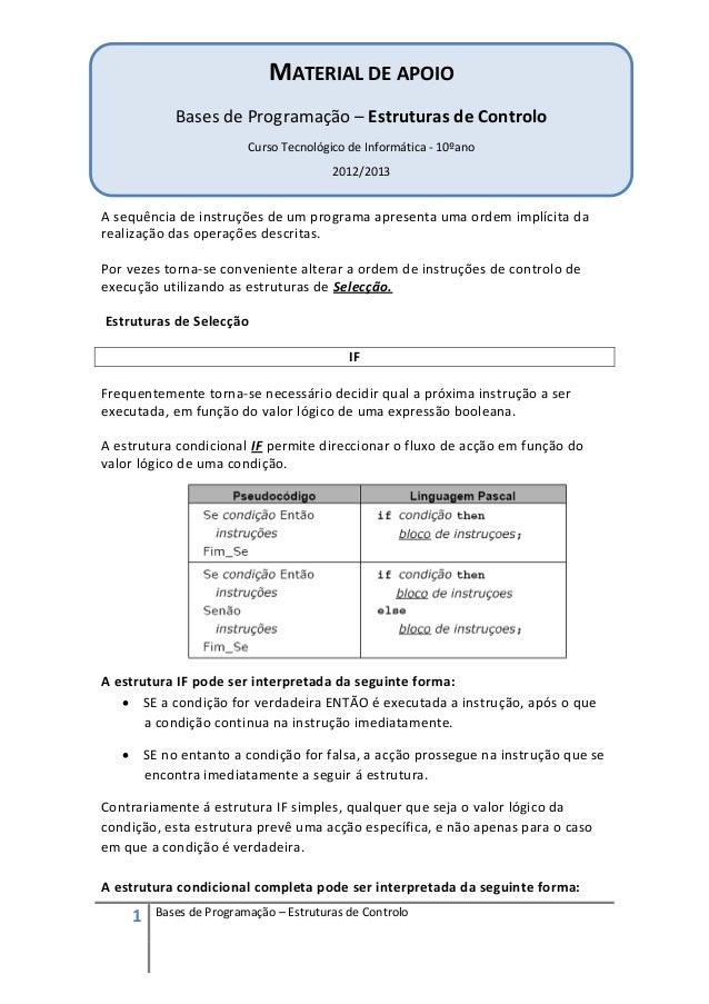 MATERIAL DE APOIO           Bases de Programação – Estruturas de Controlo                        Curso Tecnológico de Info...