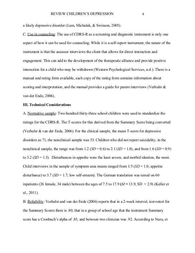 literature review on depression pdf
