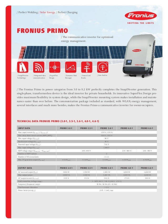 Fronius Primo Inverter Grid Connect Datasheet