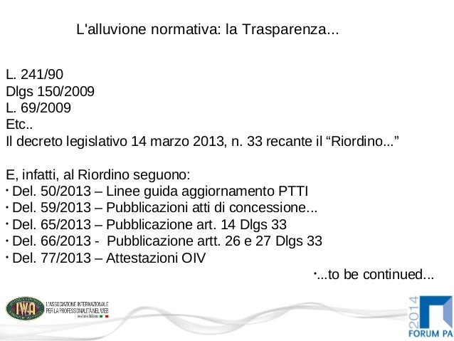 TrasparenzaPA: Spunti organizzativi Slide 2