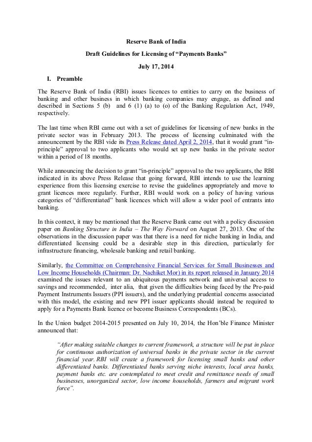 """Reserve Bank of India Draft Guidelines for Licensing of """"Payments Banks"""" July 17, 2014 I. Preamble The Reserve Bank of Ind..."""