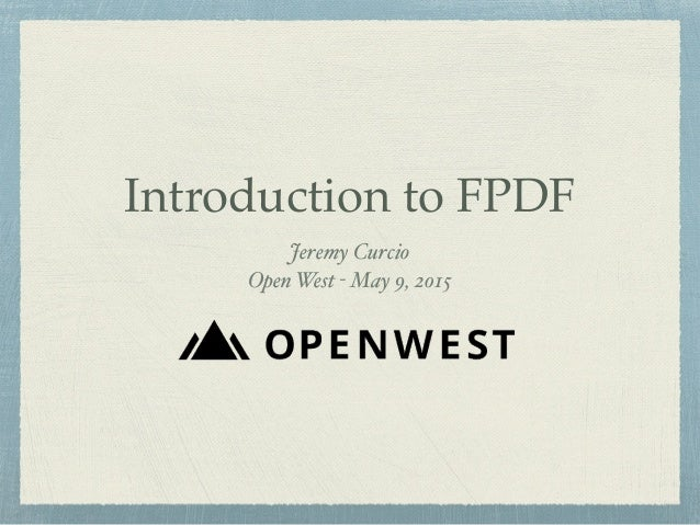 Introduction to FPDF