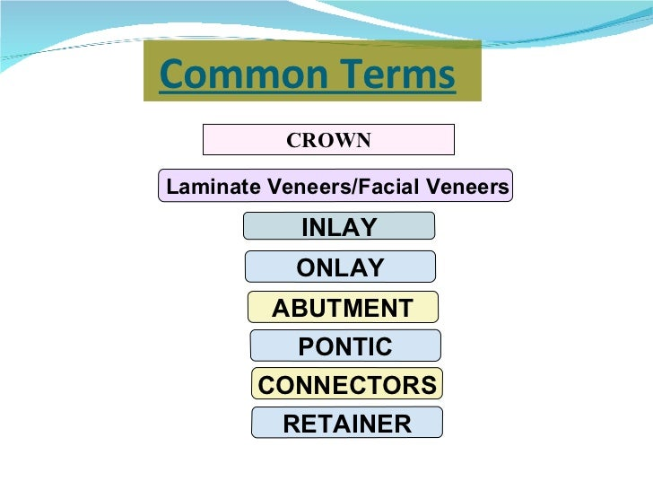 Common Terms   <ul><li>CROWN </li></ul>Laminate Veneers/Facial Veneers INLAY ONLAY ABUTMENT PONTIC CONNECTORS RETAINER
