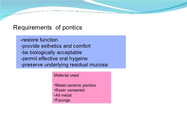 Requirements  of pontics -restore function -provide esthetics and comfort -be biologically acceptable -permit effective or...