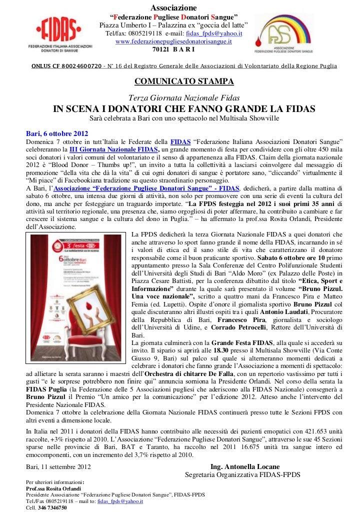 """Associazione                                 """"Federazione Pugliese Donatori Sangue""""                              Piazza Um..."""