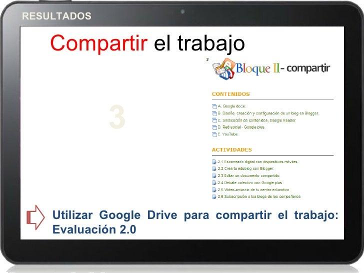RESULTADOS    Compartir el trabajo             3    Utilizar Google Drive para compartir el trabajo:    Evaluación 2.0