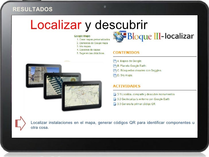 RESULTADOS    Localizar y descubrir                    3    Localizar instalaciones en el mapa, generar códigos QR para id...