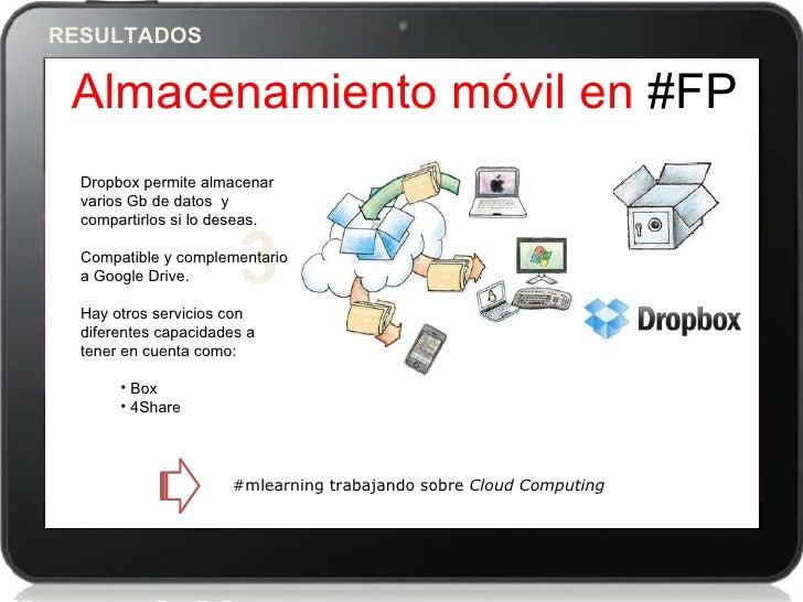 RESULTADOS Almacenamiento móvil en #FP  Dropbox permite almacenar  varios Gb de datos y  compartirlos si lo deseas.  a Goo...