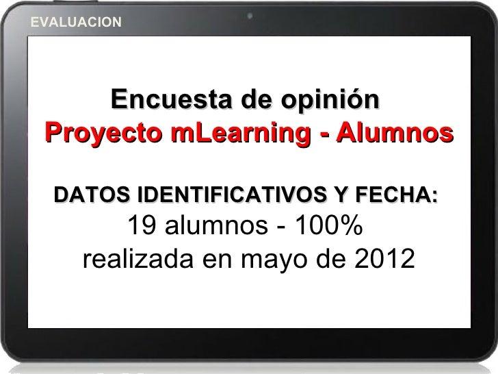 EVALUACION     Encuesta de opinión Proyecto mLearning - Alumnos  DATOS IDENTIFICATIVOS Y FECHA:         19 alumnos - 100% ...